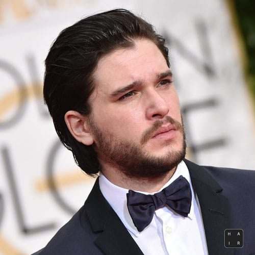 Kit-Harington-Haircut-Long-Slicked-Back-Hair-with-Full-Beard-mens hairstyles
