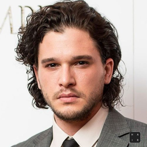 Kit Harington Hairstyle-Medium Length Curly Hair with Beard
