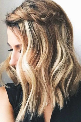 Medium Wavy Hair Styles-Braided Style For Medium Wavy Hair