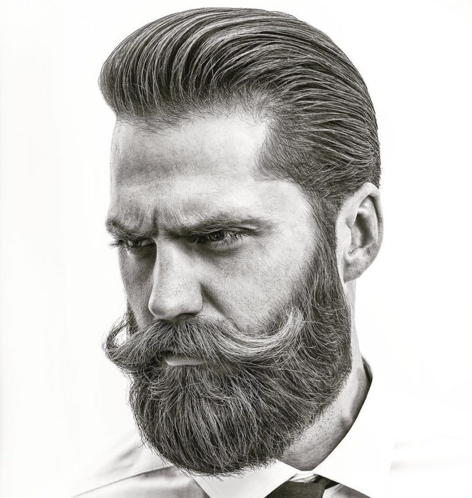 Cool Beard Styles-full beard styles-high beard styles-Full Beard with Long Mustache