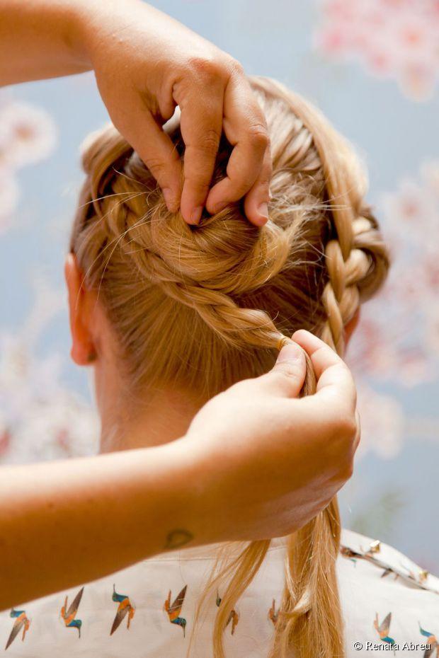 bun with braiding hair